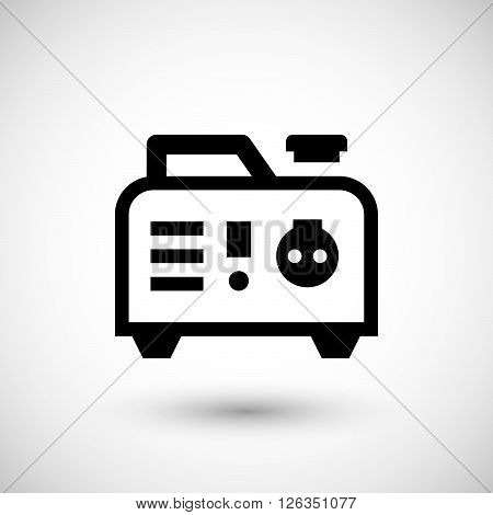 Portable electric generator icon isolated on grey. Vector illustration