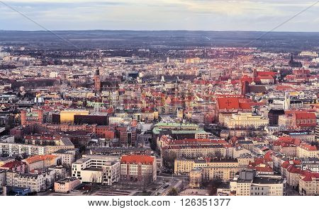 Air view on the old town in Wroclaw in the evening. Poland. Europe.
