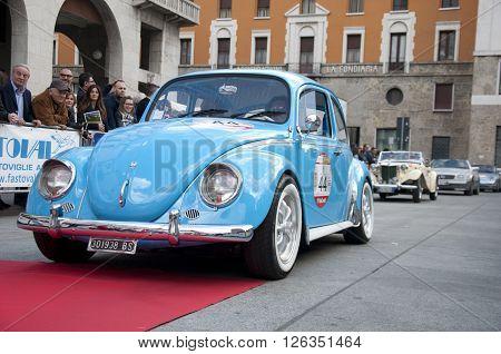 BRESCIA, ITALY - APRILE 17, 2016:500 Miglia. Finish. VOLKSWAGEN BEETLE, 1962 built