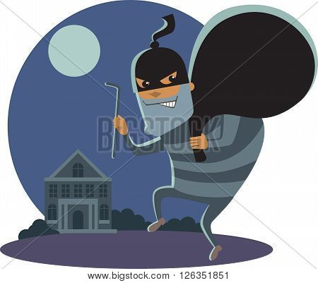Robber at night with robbery mask holding a sack and a scrap