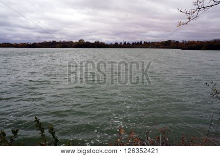 A view of Lake Renwick in the Lake Renwick Heron Rookery Nature Preserve in Plainfield, Illinois, during the autumn.