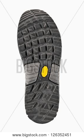 sole of hiking boots. Isolated on white background