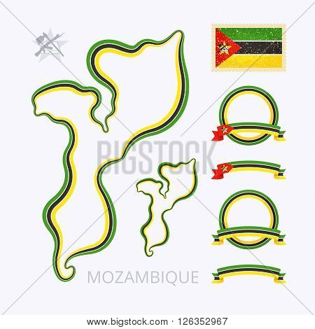 Outline map of Mozambique. Border is marked with ribbon in national colors. The package contains frames in national colors and stamp with flag.