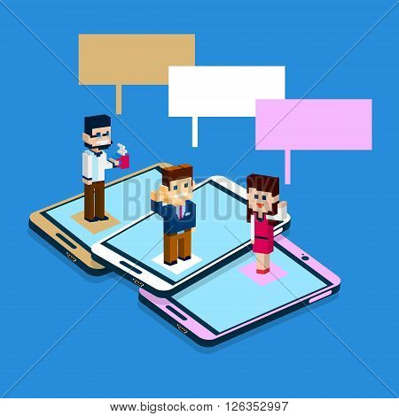 Business People Stand On Big Cell Smart Phone Social Network Communication Man Woman With Chat Bubble 3d Isometric Flat Design Vector Illustration