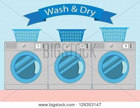 Line of industrial laundry machines in Flat style (rows of washing machines laundromat machine washer line). Laundry service design Wash and Dry Vector Illustration.