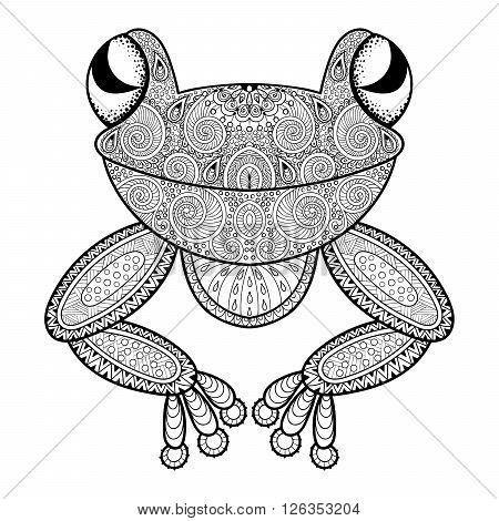 Vector zentangle frog for adult anti stress coloring page. Hand drawn artistically ethnic ornamental patterned illustration. Animal collection. Print for tattoo design, t-shirt and fabric.