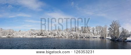 Beautiful winter snow scene with a tree lined lake with snow clinging to the branches against a bright blue puffy cloud sky.