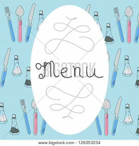 Retro Menu Design with hand drawn lettering and flatware - knife fork spoon salt and pepper spices. Flat Vector Illustration.