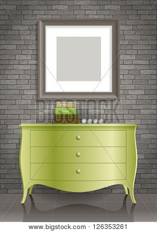 Green dresser and the picture in the gray box in the room with an interior in the loft