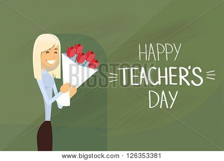 Woman Hold Rose Flower Bouquet Teacher Day Holiday Greeting Card Flat Vector Illustration