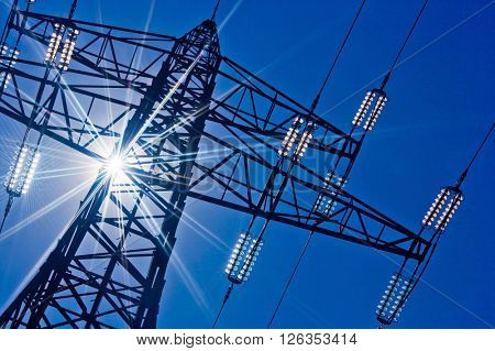 power line with sun