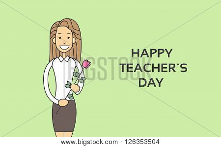 Woman Hold Rose Flower Teacher Day Holiday Greeting Card Thin Line Vector Illustration