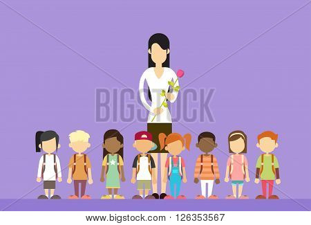 Teacher Day Holiday Woman Hold Flower With School Children Group Flat Vector Illustration