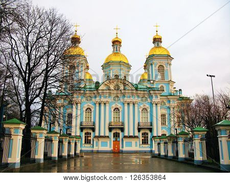 The naval Cathedral of St. Nicholas in Saint-Petersburg in autumn after rain
