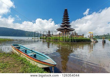 Pura Ulun Danu temple on a lake Beratan. Bali, Indonesia