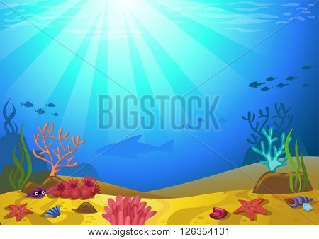 Vector illustration of a seabed with corals and small fishes