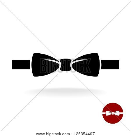 Bow tie black vector icon with ribbon. Isolated on a white background.