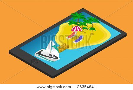 Isometric tropical island on mobile phone or tablet. Summer travel concept