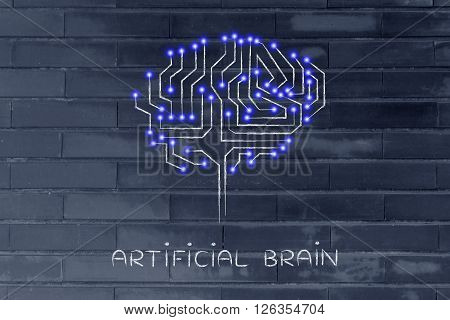 Microchip Circuit Brain With Led Lights, Caption Artificial Brain