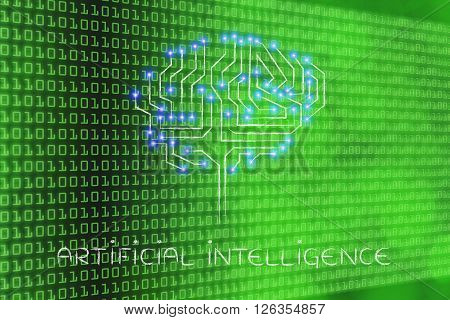 Microchip Circuit Brain With Led Lights, Caption Artificial Intelligence