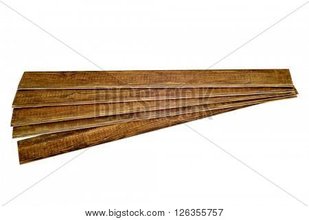 some rustic wooden planks on a white background