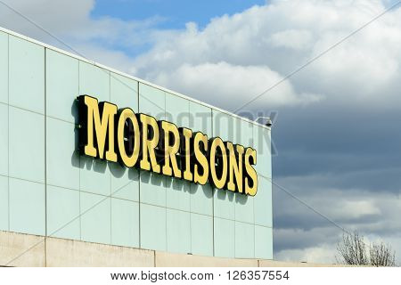 EDINBURGH SCOTLAND - APRIL 16 2016: Exterior view of the Morrisons supermarket at the Gyle Centre located to the west of Edinburgh.