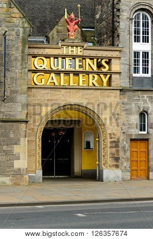 EDINBURGH SCOTLAND - APRIL 16 2016: Entrance to The Queen's Gallery. Close to the Palace of Holyroodhouse entrance and the Scottish Parliament in Edinburgh.