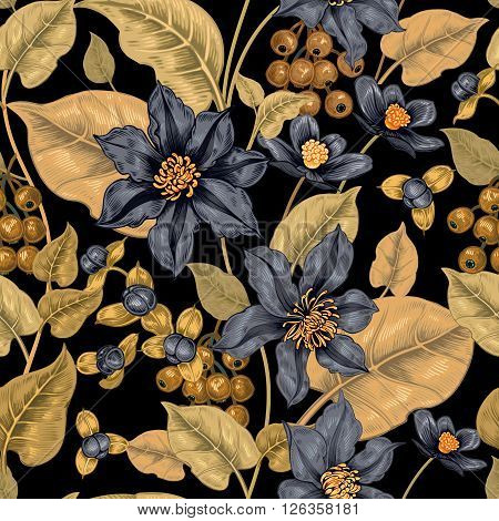 Floral seamless pattern on a black background for fabrics textiles wallpaper paper. Vector. Clematis flowers and ornamental berries. Design Victorian style.