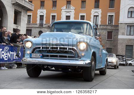 BRESCIA, ITALY - APRILE 17, 2016:500 Miglia. Finish. CHEVROLET 3100, 1957 built