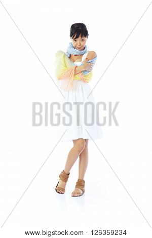 Brunette lady in casual clothes on a white background
