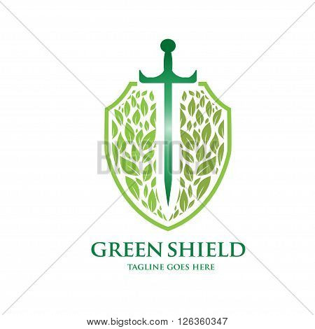 green leaf shield with  sword  inside logo vector