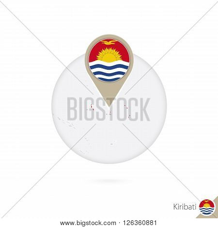 Kiribati Map And Flag In Circle. Map Of Kiribati, Kiribati Flag Pin. Map Of Kiribati In The Style Of