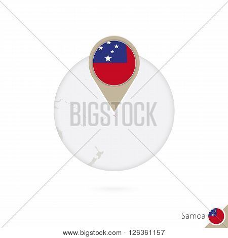 Samoa Map And Flag In Circle. Map Of Samoa, Samoa Flag Pin. Map Of Samoa In The Style Of The Globe.