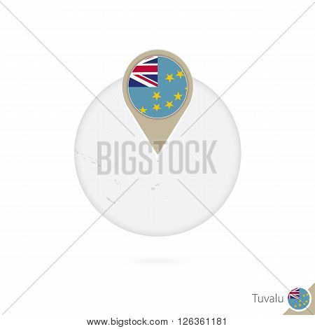 Tuvalu Map And Flag In Circle. Map Of Tuvalu, Tuvalu Flag Pin. Map Of Tuvalu In The Style Of The Glo