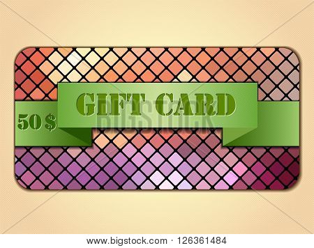 Vector illustration with colorful gift card. Illustration 10 version