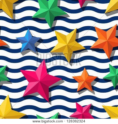 Vector seamless pattern with 3d stylized stars and blue wavy stripes. Summer marine striped background. Design for fashion textile print wrapping paper web background.
