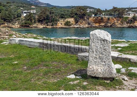 Amazing view of Ruins in Archaeological site of Aliki, Thassos island,  East Macedonia and Thrace, Greece