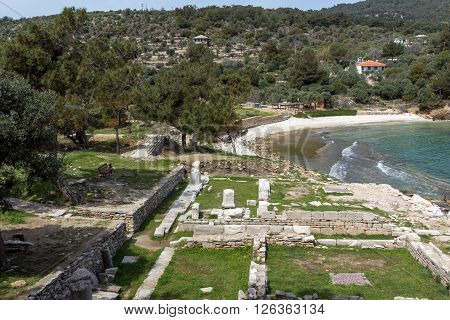 Ruins in Archaeological site of Aliki and small beach, Thassos island,  East Macedonia and Thrace, Greece