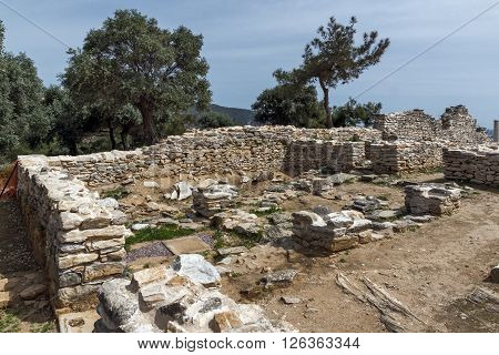 Ruins of ancient village in Archaeological site of Aliki, Thassos island,  East Macedonia and Thrace, Greece