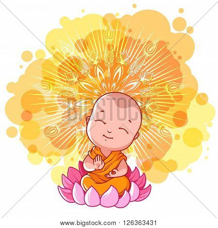 Little meditating monk on the lotus. Sunny day. Vector cartoon illustration on a yellow spotted background.