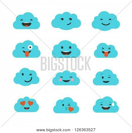 Clouds cute emoji, smily emoticons faces set