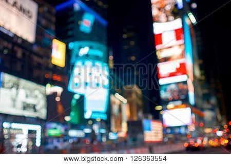Defocused shot of New York City at night.