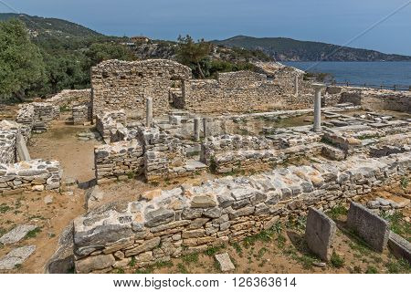 Panorama to Ruins of ancient church in Archaeological site of Aliki, Thassos island,  East Macedonia and Thrace, Greec