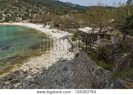 Panoramic view to village and beach of Aliki, Thassos island,  East Macedonia and Thrace, Greece