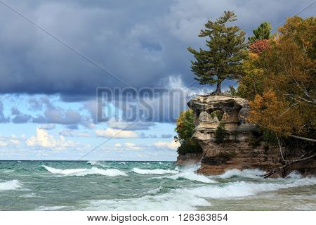 Chapel Rock above a stormy Lake Superior at Pictured Rocks National Lakeshore in the Upper Peninsula of Michigan