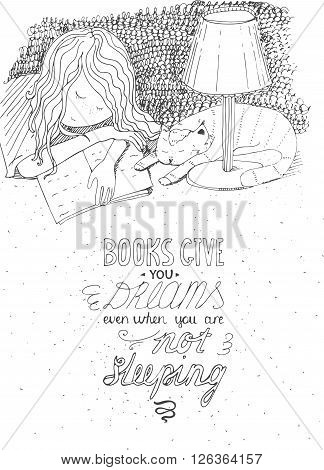 Girl and cat sleeping on book. Vector hand drawn illustration made with black ink white paper. Isolated with simple motivating educational lettering quote perfect for a bookstore library