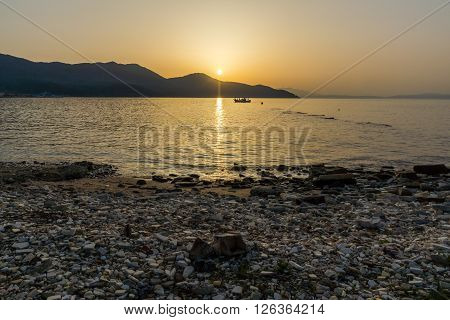 Amazing Sunset on the beach of Thassos town, East Macedonia and Thrace, Greece