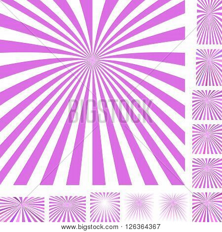 Magenta and white vector ray burst design background set. Different color, gradient, screen, paper size versions.