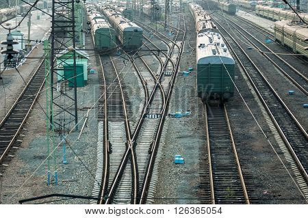 Novosibirsk, Russia - July 26, 2005: Railway station and railway tracks