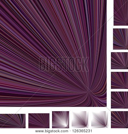 Purple asymmetrical vector ray burst design background set. Different color, gradient, screen, paper size versions.